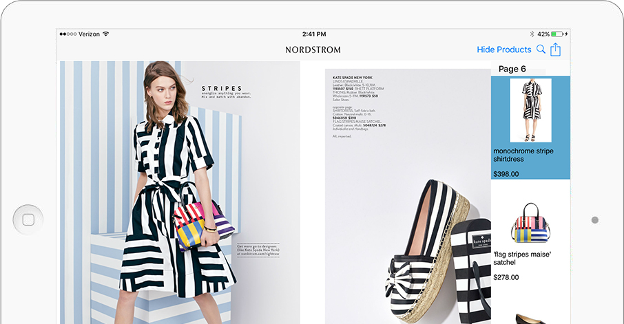 Shoppable Content Example iPad
